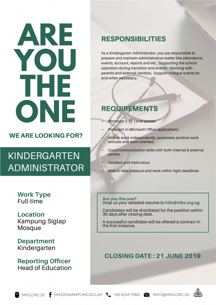 MKS_Job_Advert_template_Kindergarten Administrator